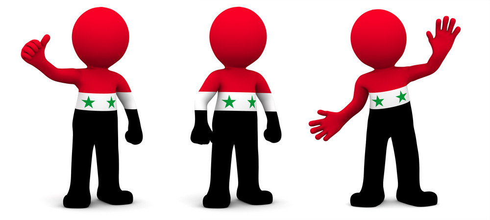 3d Character Textured With Flag Of Syria