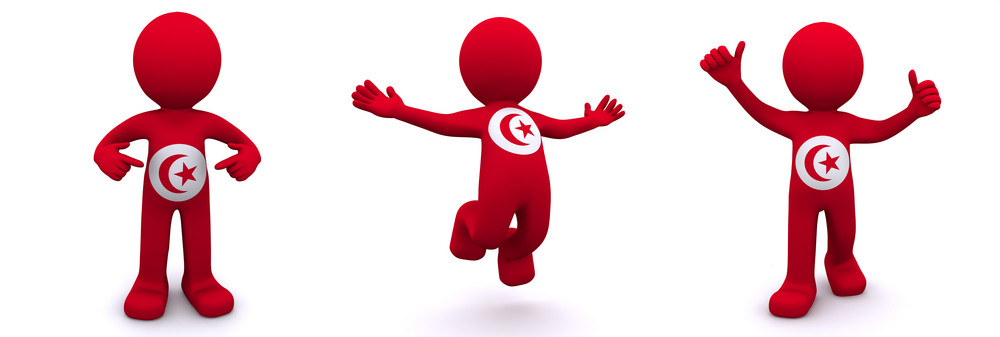 3d Character Textured With  Flag Of Tunis