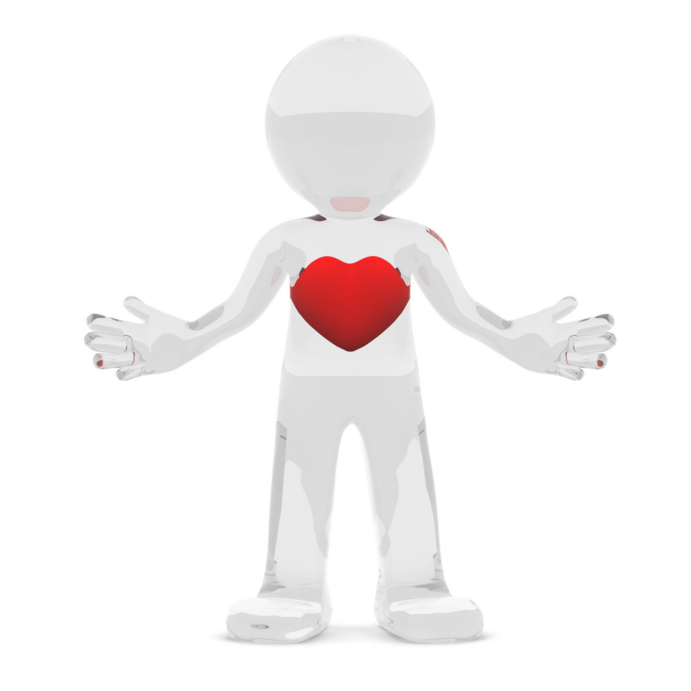 3d Character With Red Heart
