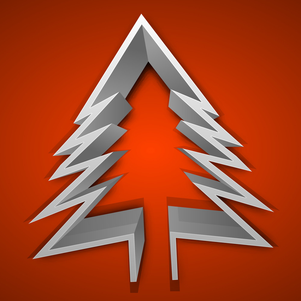 3d Christmas Tree On Red Background.