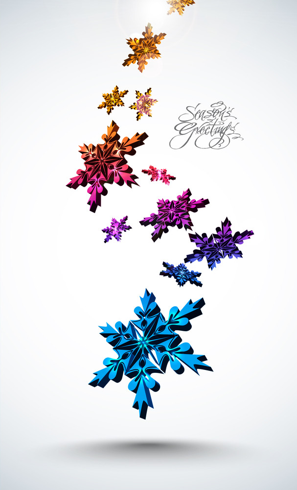 3d Colorful Snowflakes