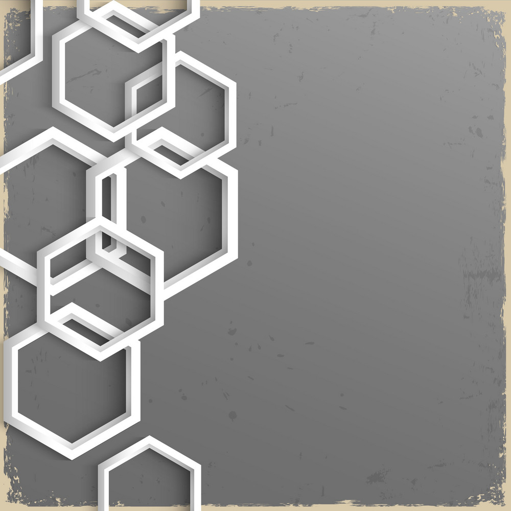 3d Geometric Grunge Background With Hexagons