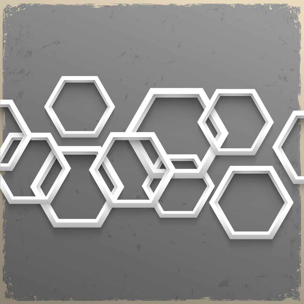 3d Geometric Hexagons On Grunge Background