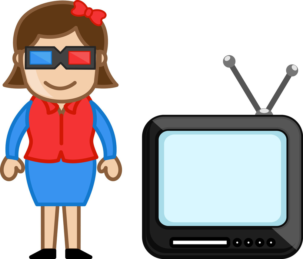 3d Glasses And Tv - Vector Illustration