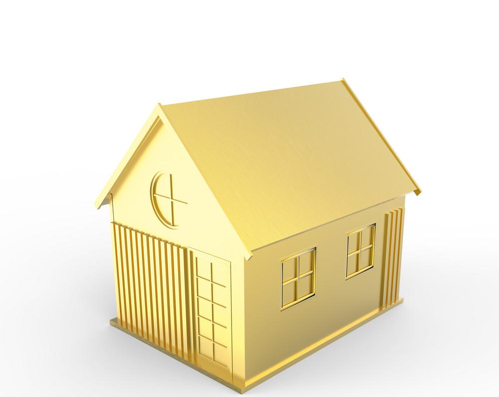 3d Golden House Symbol