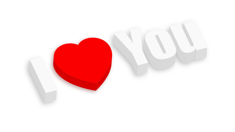 3d I Love You Banner