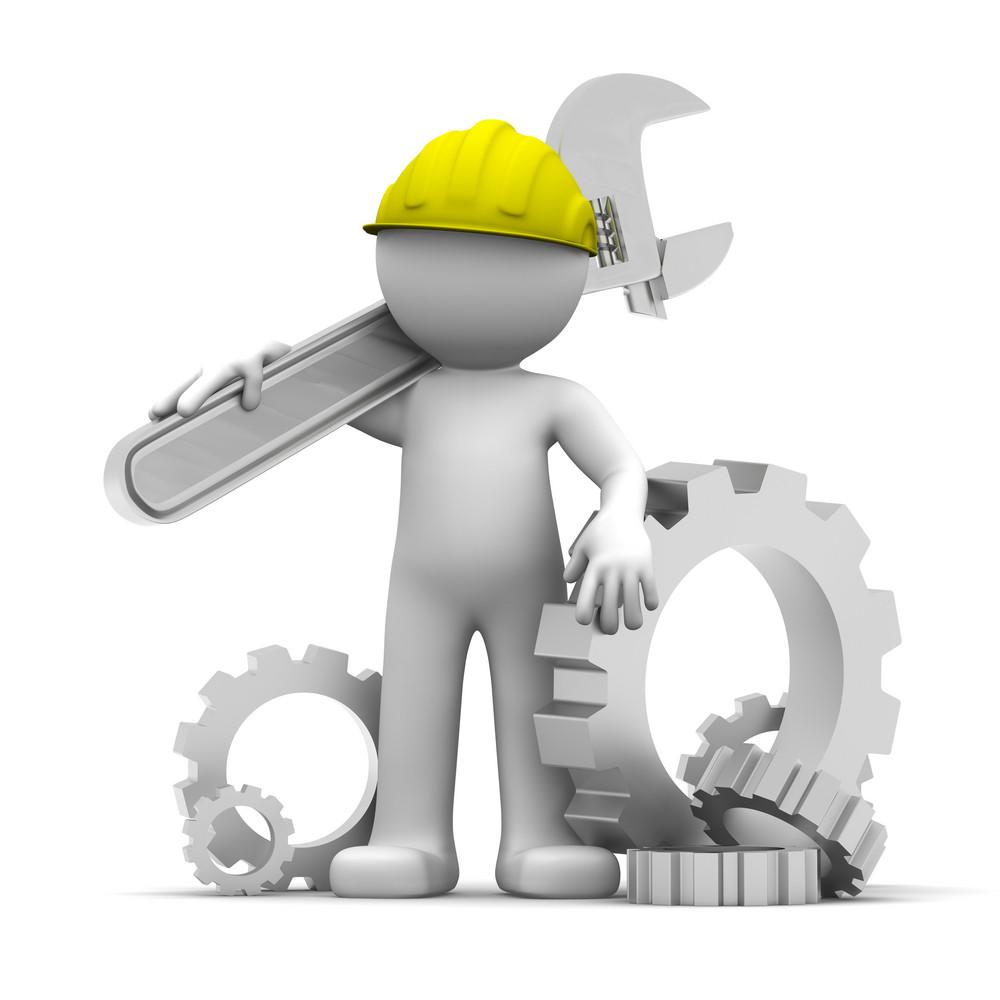 Trabalhador industrial 3d com chave e engrenagens. Ilustração conceitual