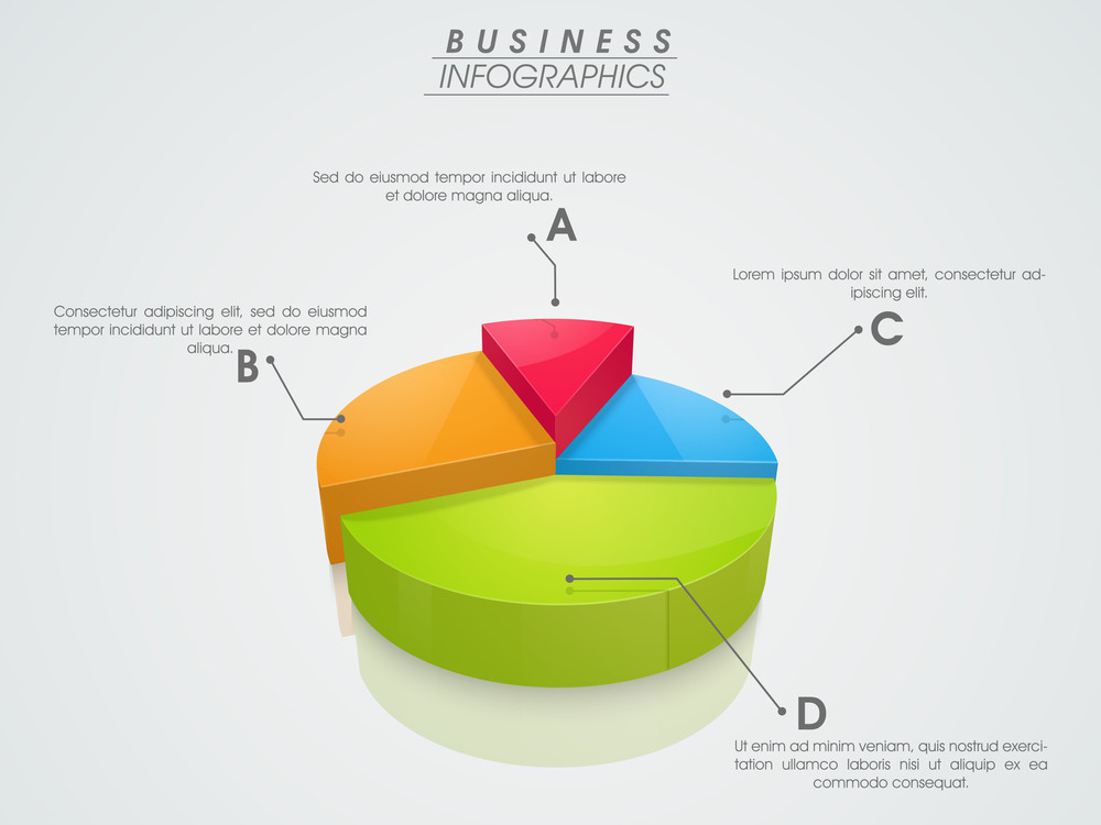3d Infographics Pie Chart Showing Professional Data By Different