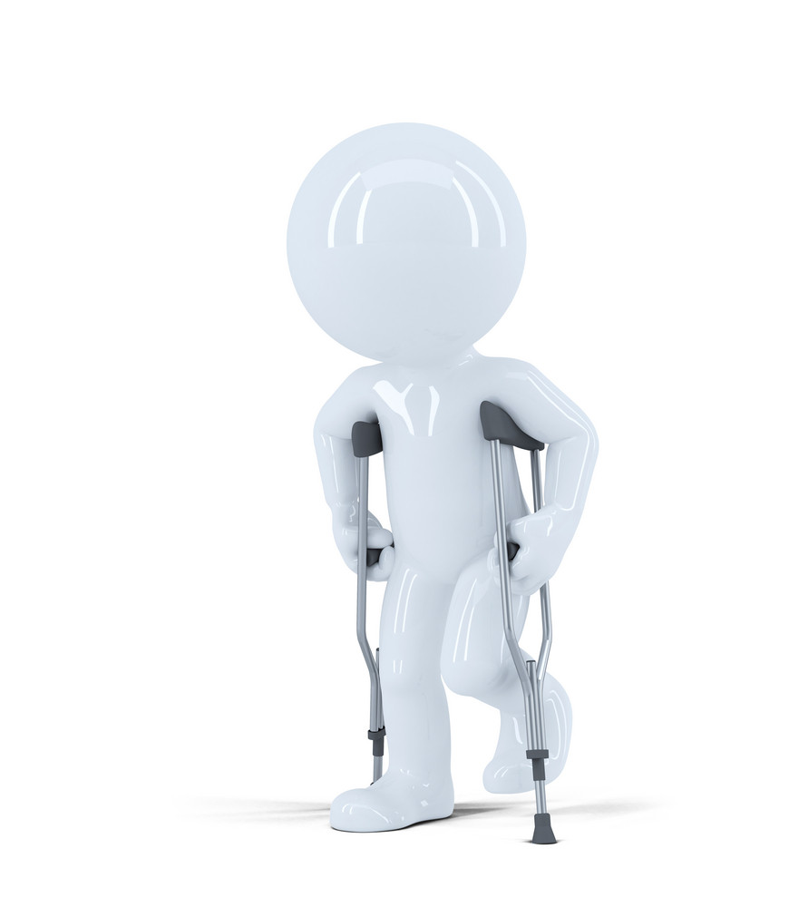 3d Man Walking On Crutches