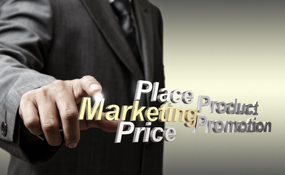 3d Metallic Marketing4p Diagram As Concept