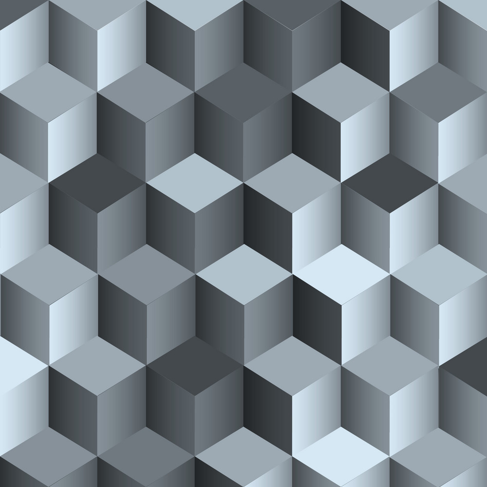 3d Monochrome Background With Cube