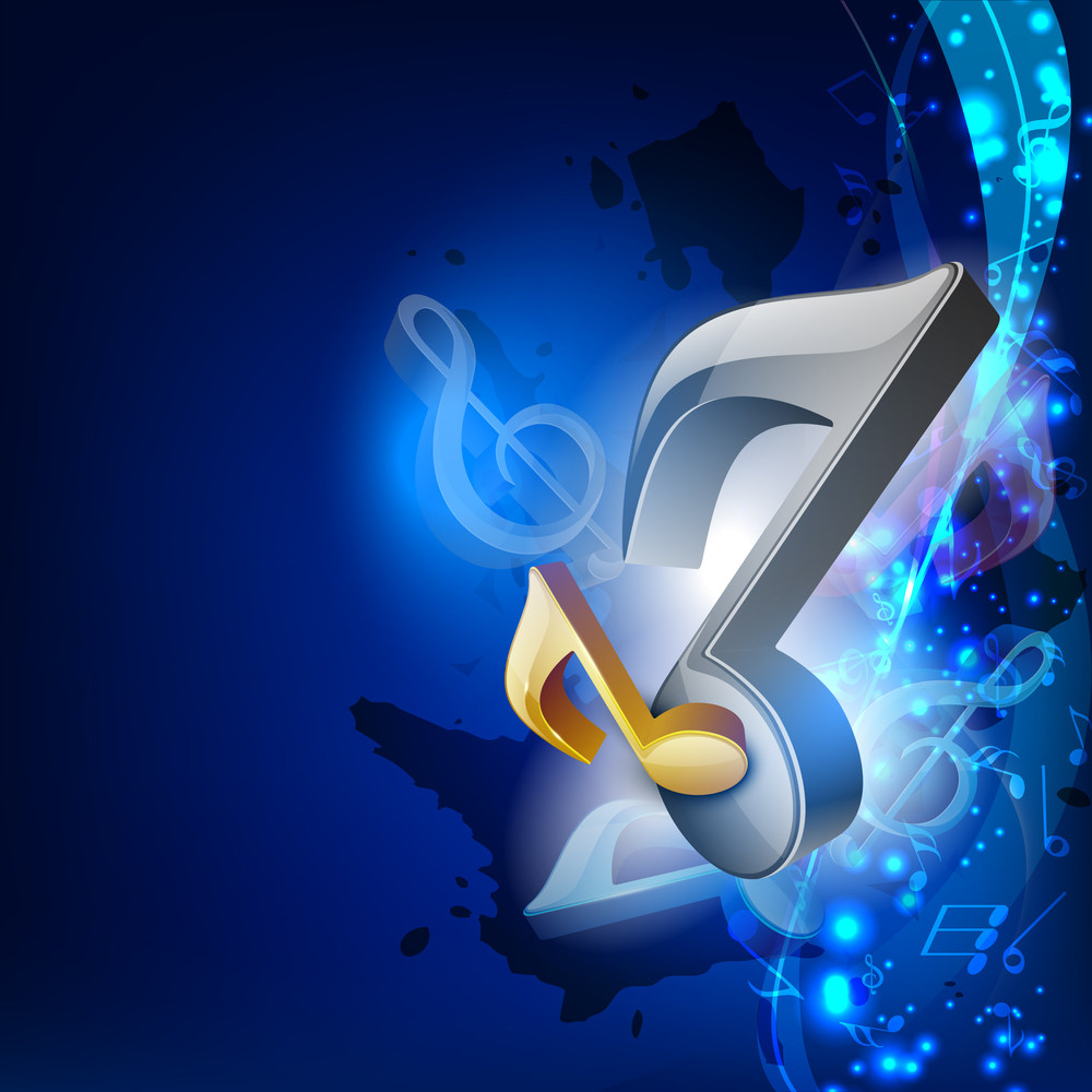 3d Music Notes On Blue Wave Background.
