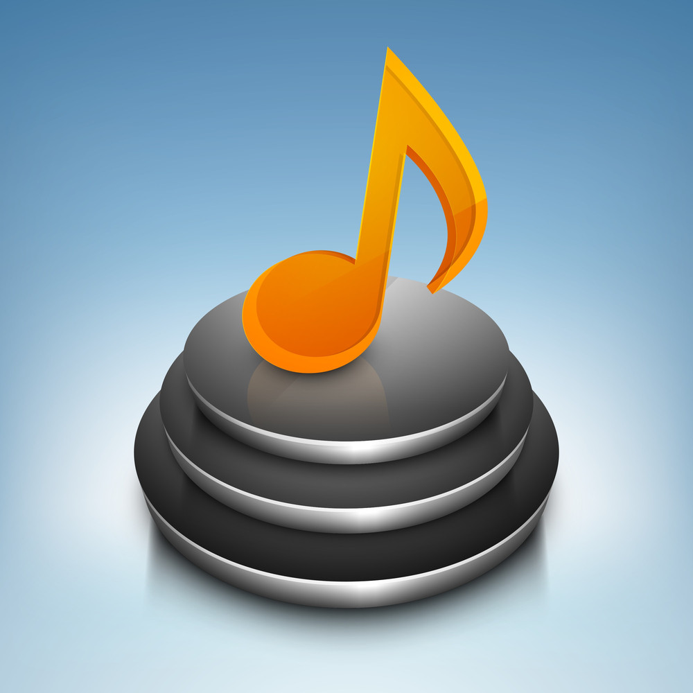 3d Musical Note On Stage-