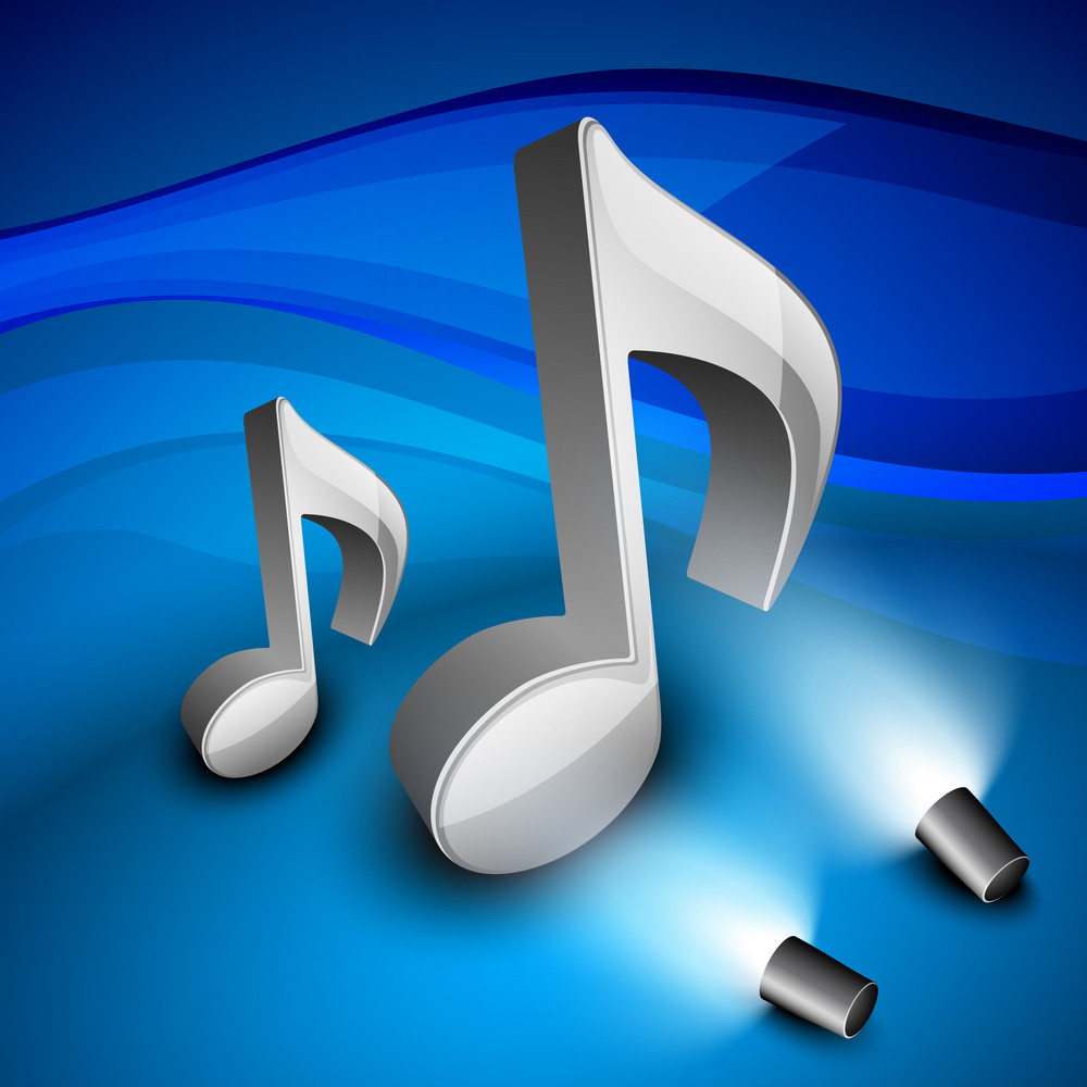 3d Musical Notes On Shiny Background.