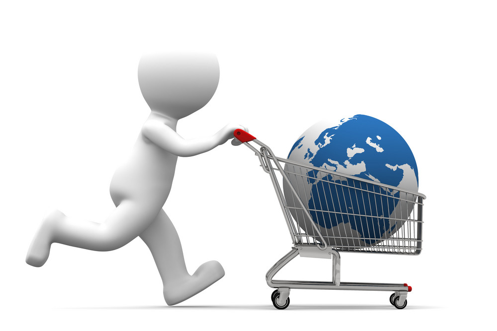 3d Person Carrying Shopping Cart With Globe