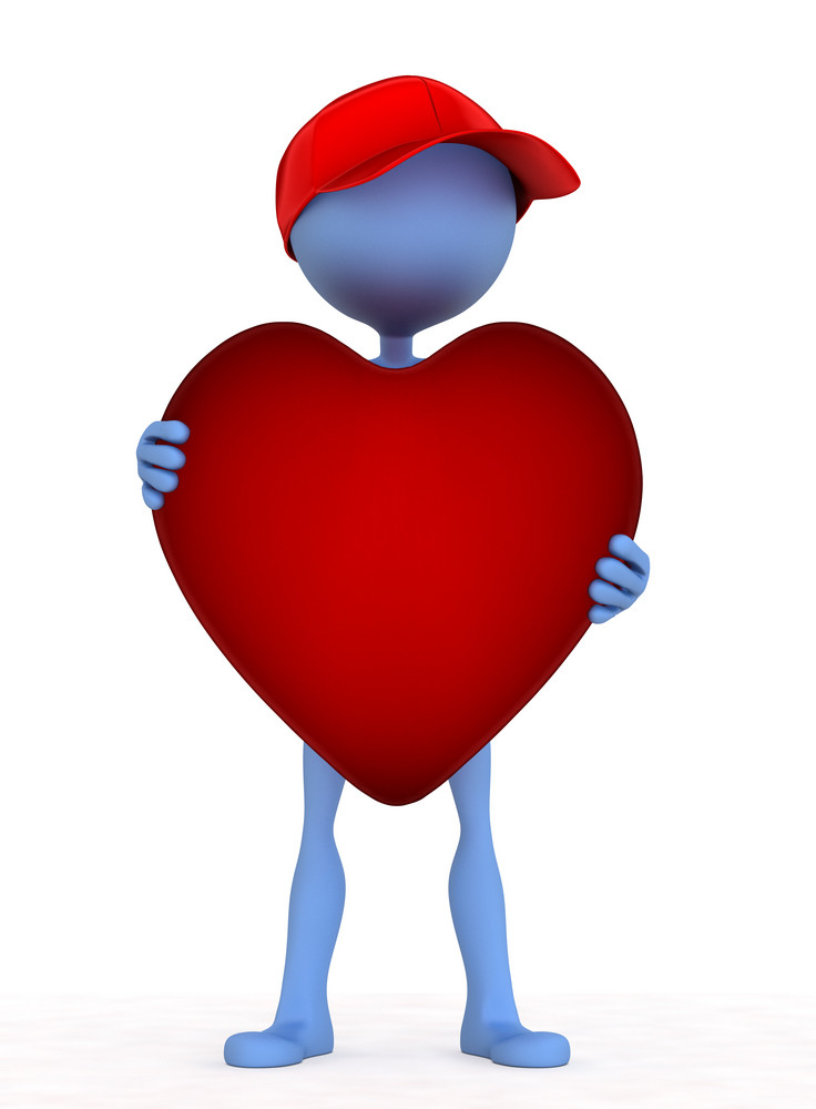 3d Person Holding Heart In His Hand