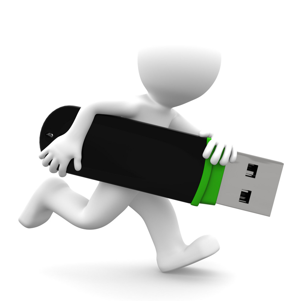 3d Person Running With Usb Flash Drive