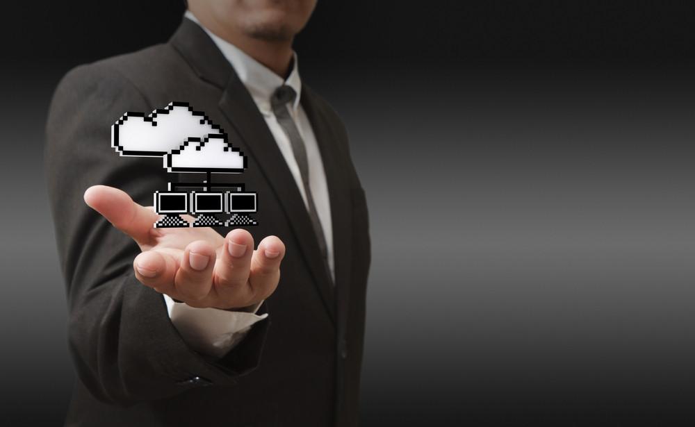 3d Pixel Cloud Network Icon As Concept