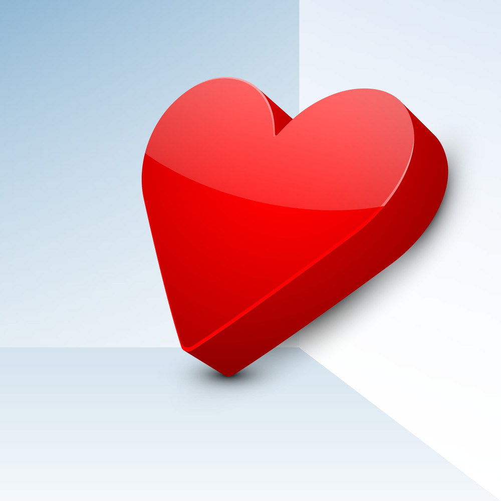 3d Red Heart On Blue Background