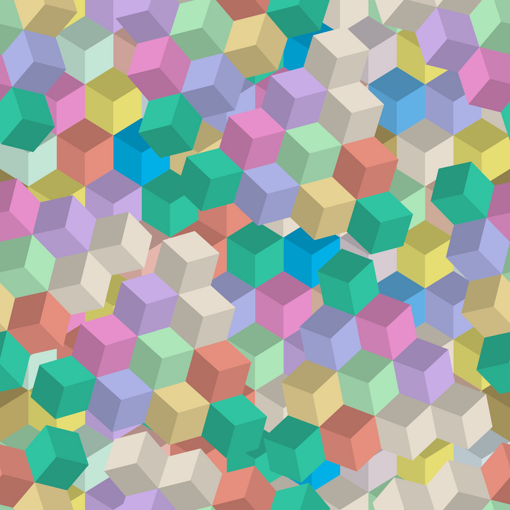 3d Retro Seamless Pattern Of Cubes