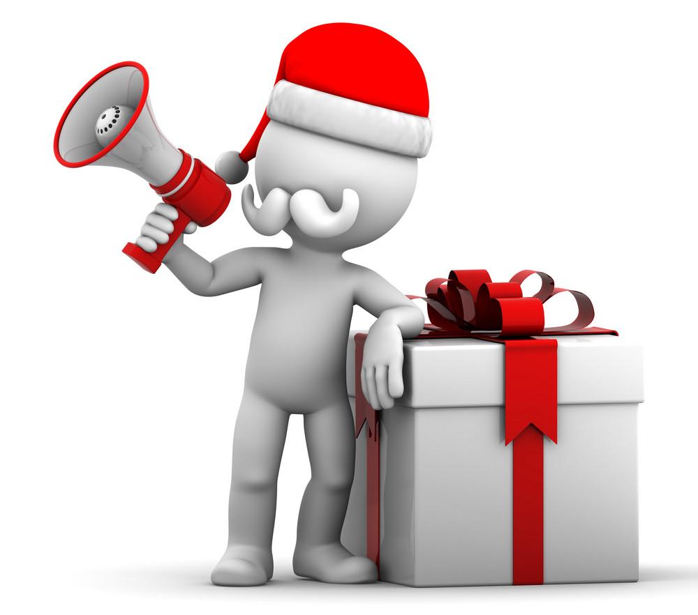 3d Santa Shouting Using Megaphone.