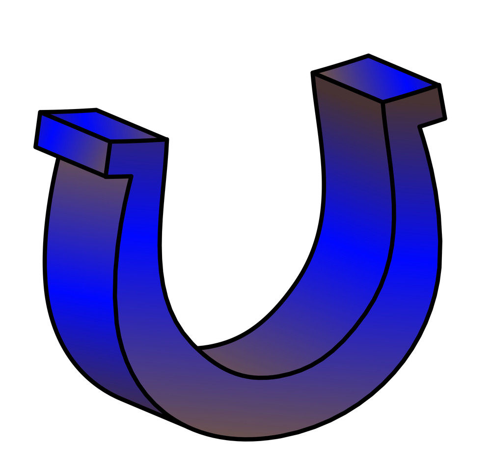 3d Shiny Blue Horseshoe