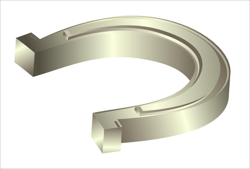 3d Shiny Metallic Horseshoe