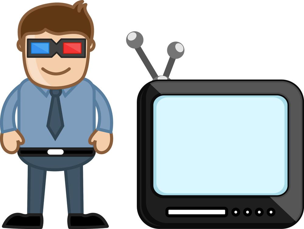 3d Smart Tv - Business Cartoons Vectors