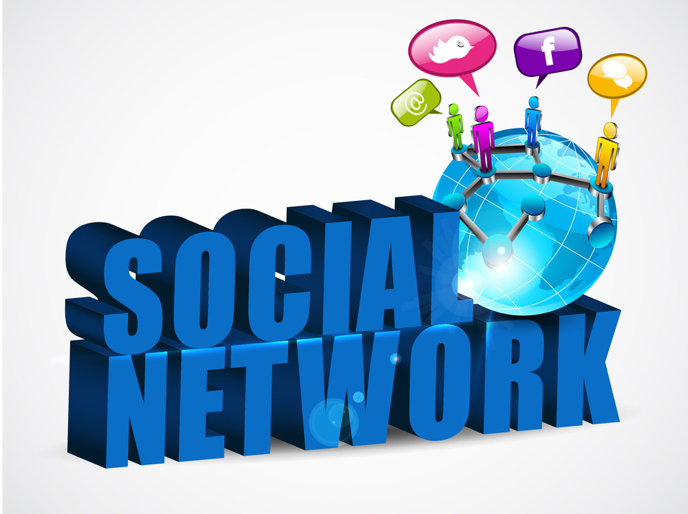 3d Social Networking Background With Text