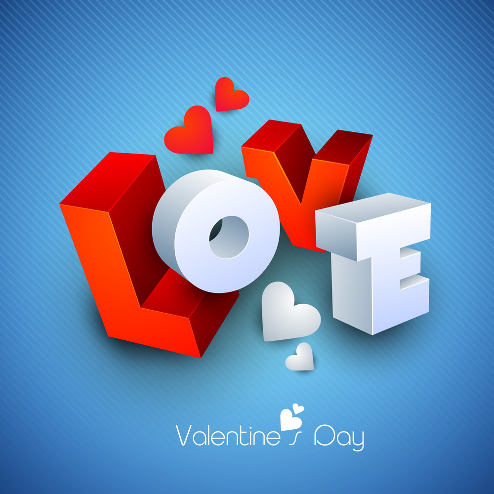 3d Text Love On Blue Background