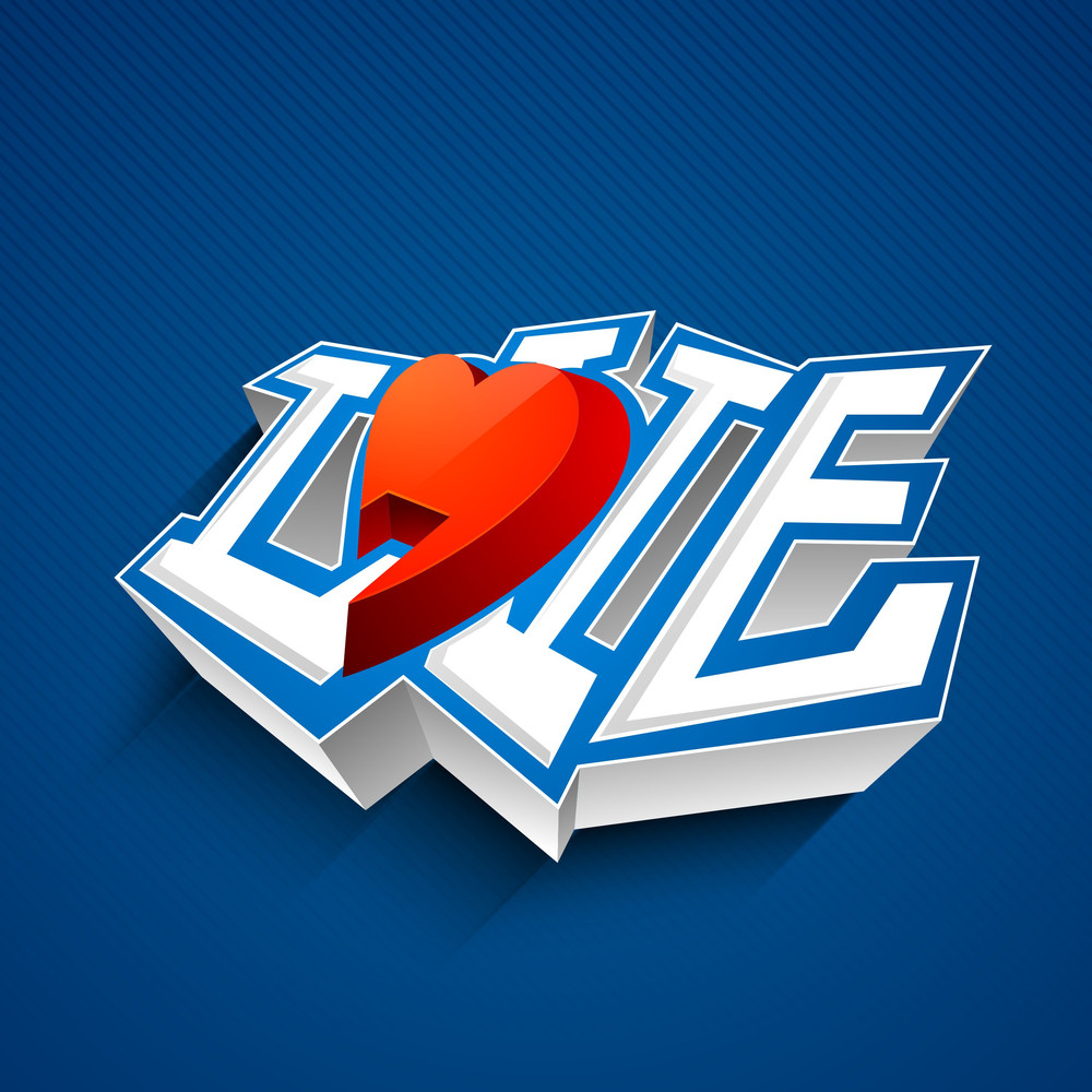 3d Text Love With Red Heart On Blue Background