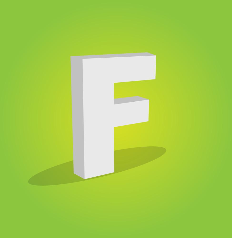 3d Vector Alphabet F Text