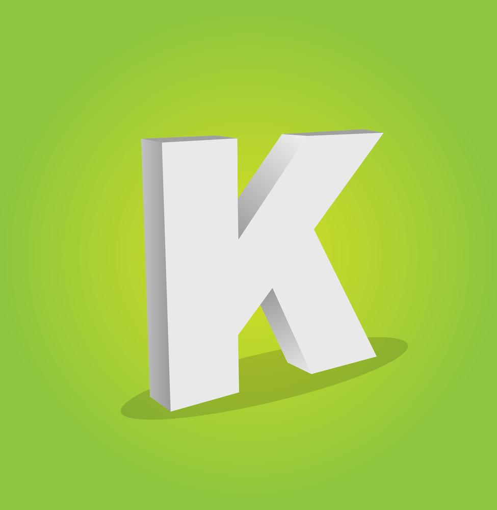 3d Vector Alphabet K Text