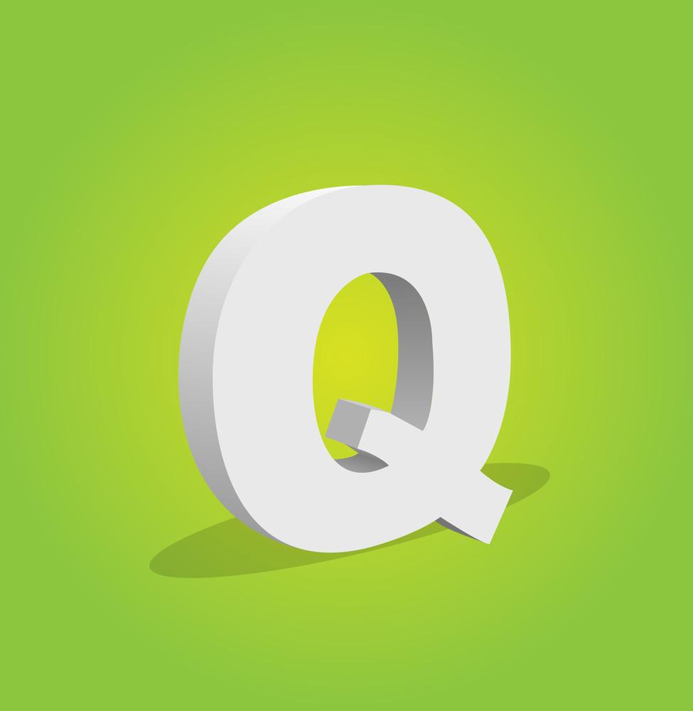 3d Vector Alphabet Q Text