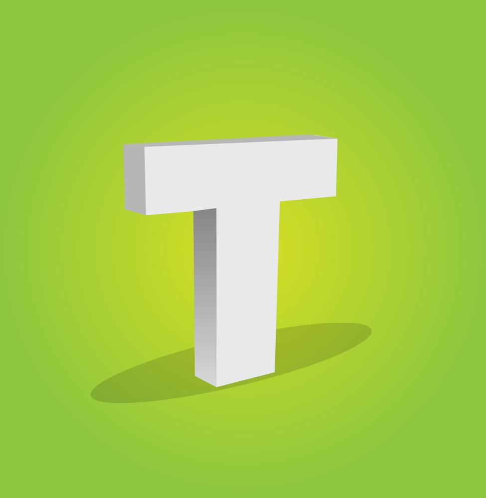 3d Vector Alphabet T Text