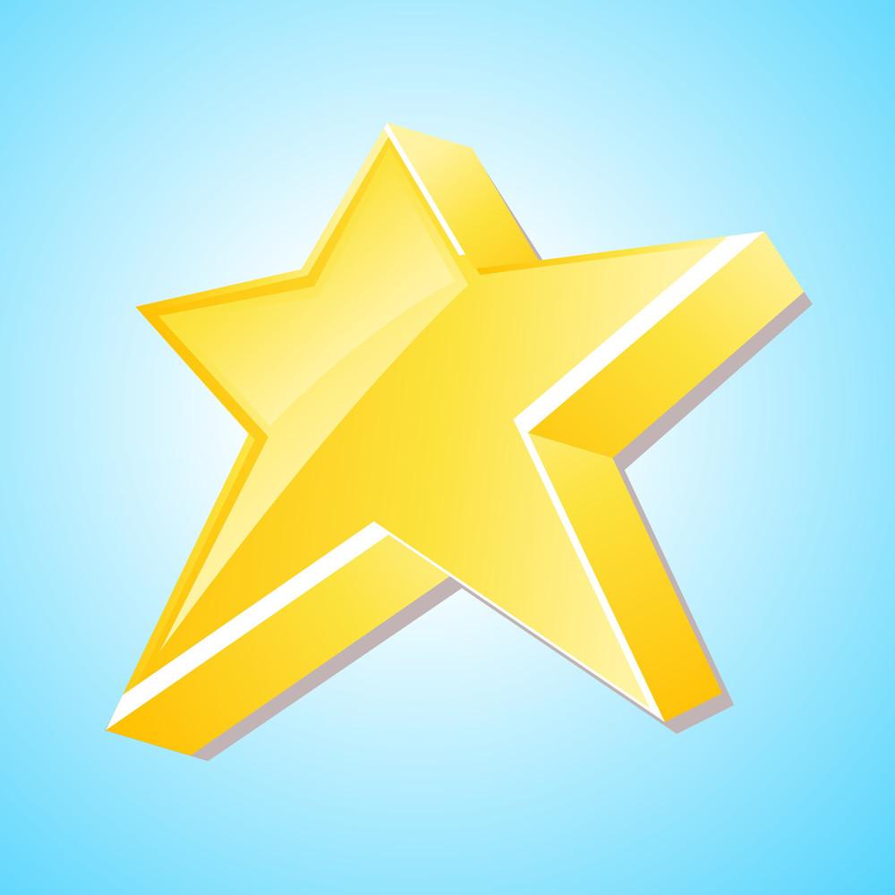 3d Yellow Star