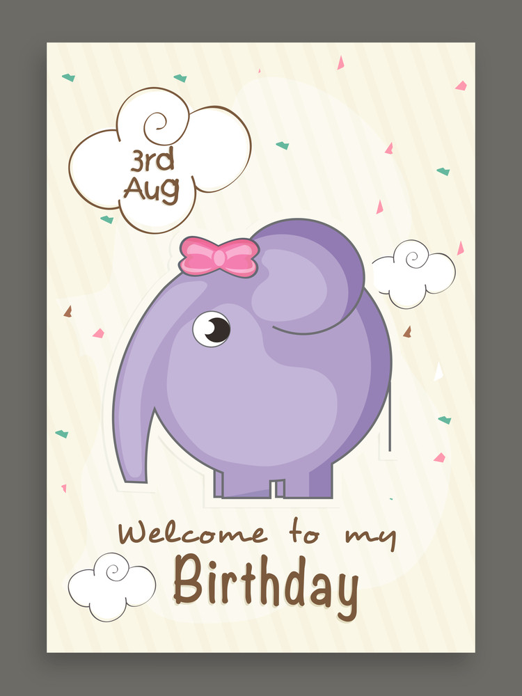 3rd august Welcome to my Birthday invitation card design with cute ...
