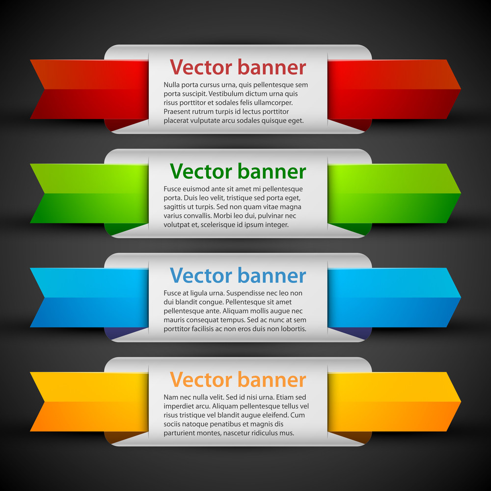 4 Colorful Banners With Cute Tags. Useful For Web Design Or Advertising.