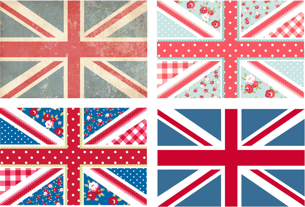 4 Cute British Flags In Shabby Chic Floral And Vintage Style