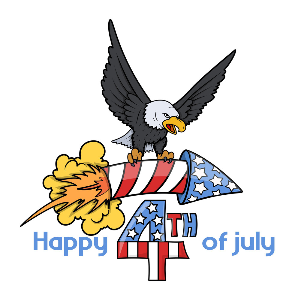 4th Of July Cartoon Decorative Text