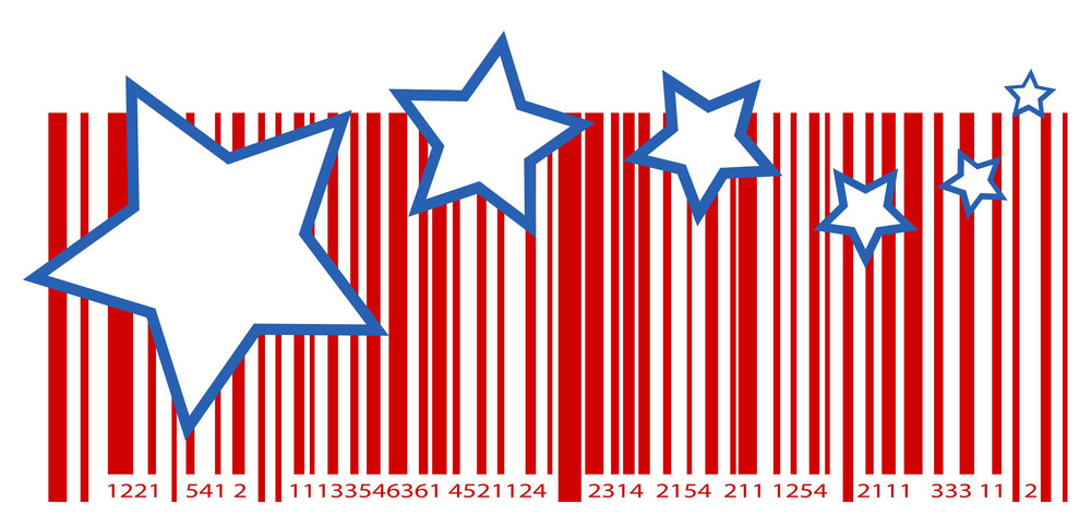 4th Of July Shopping Themed Barcode Vector