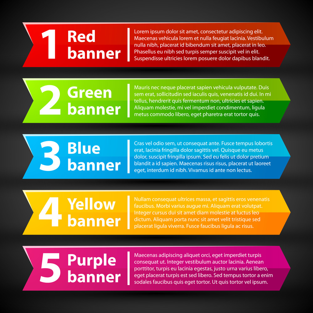5 Colorful Banners With Numbers And Text.