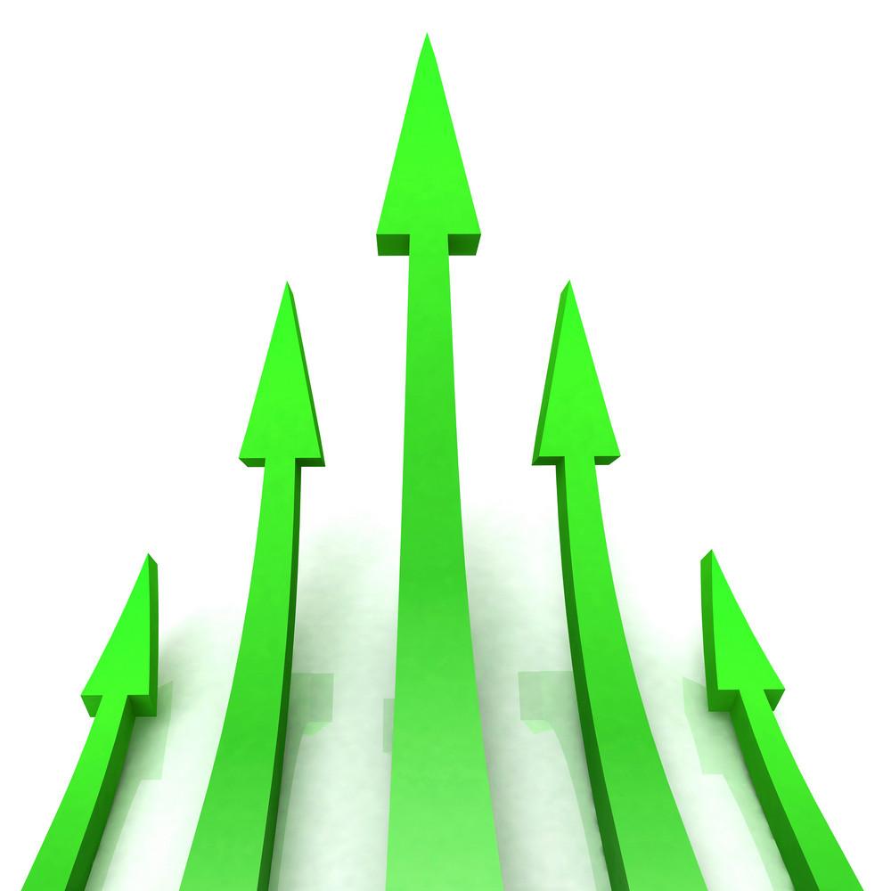 5 Green Arrows Shows Progress Target