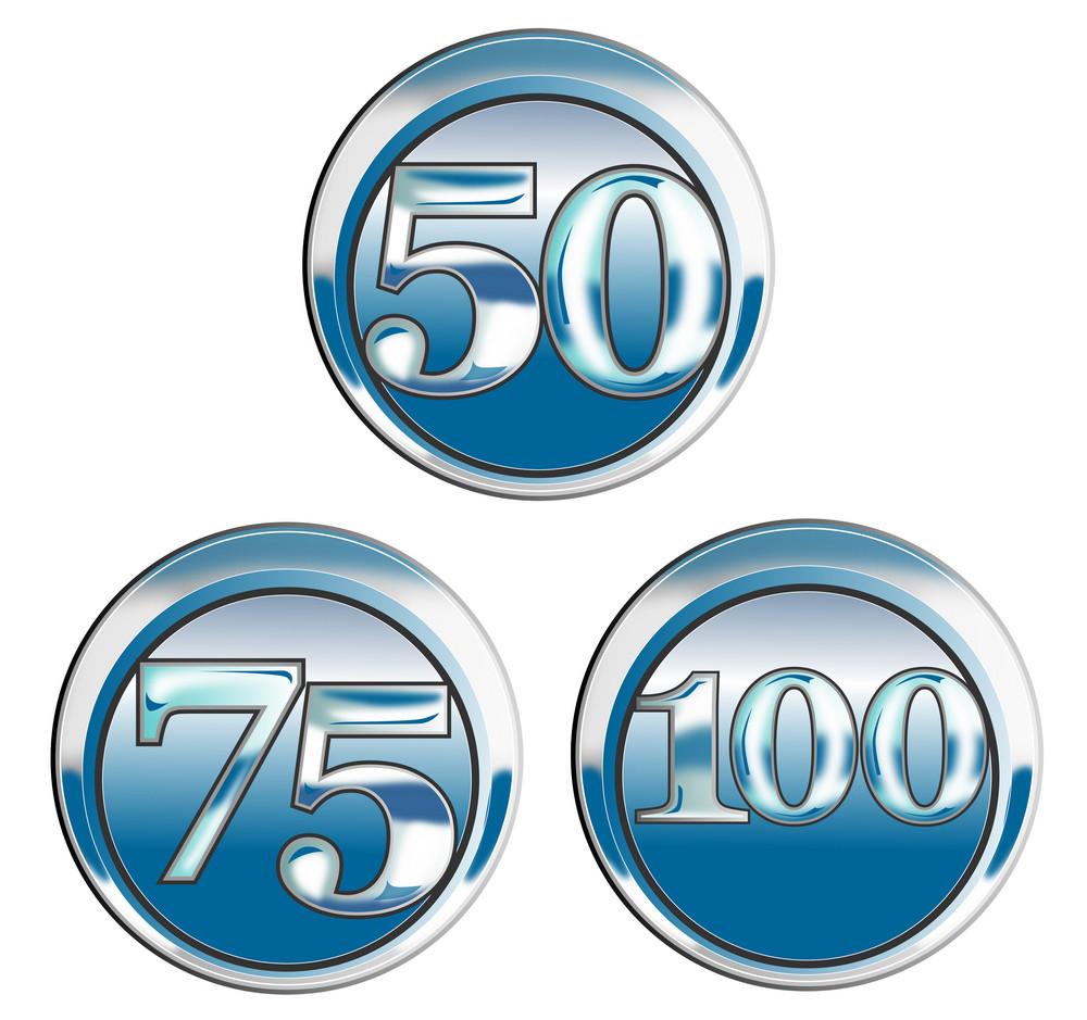 50 75 100 In Blue Chrome