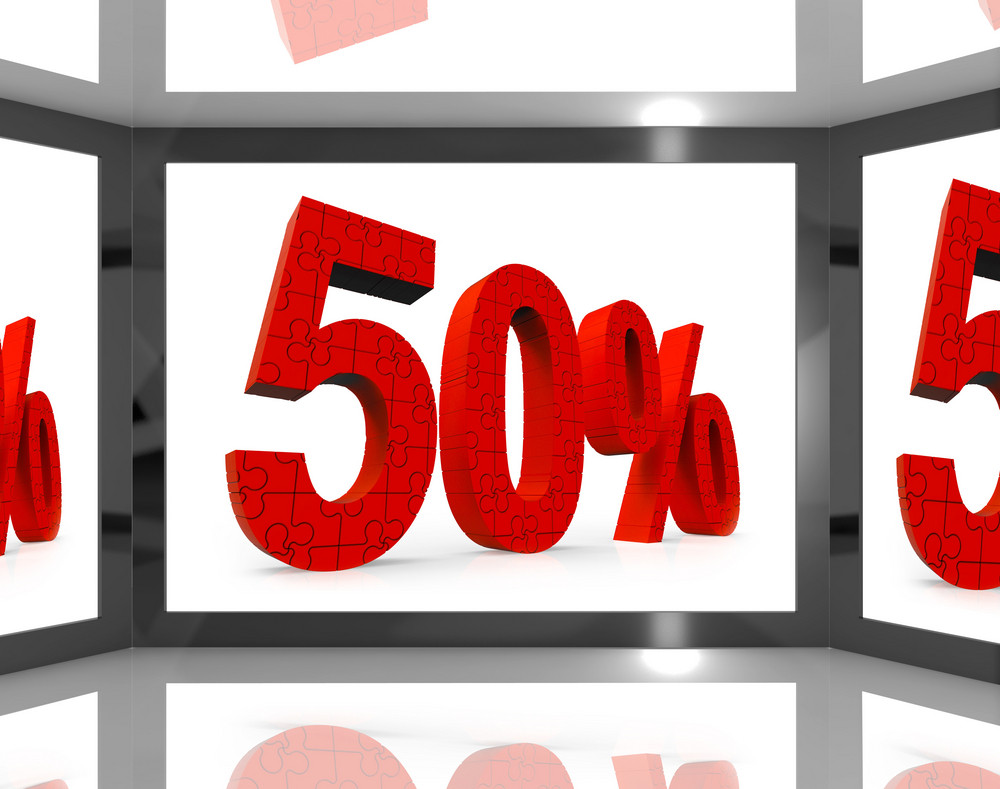 50 On Screen Showing Discount On Televisions And Price Reductions