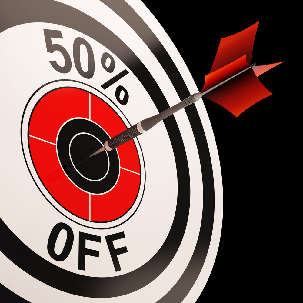50 Percent Off Shows Percentage Reduction On Price