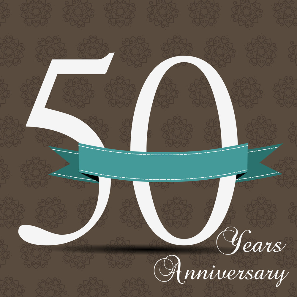 50 Years Anniversary Celebration Signs And Cards Abstract Design