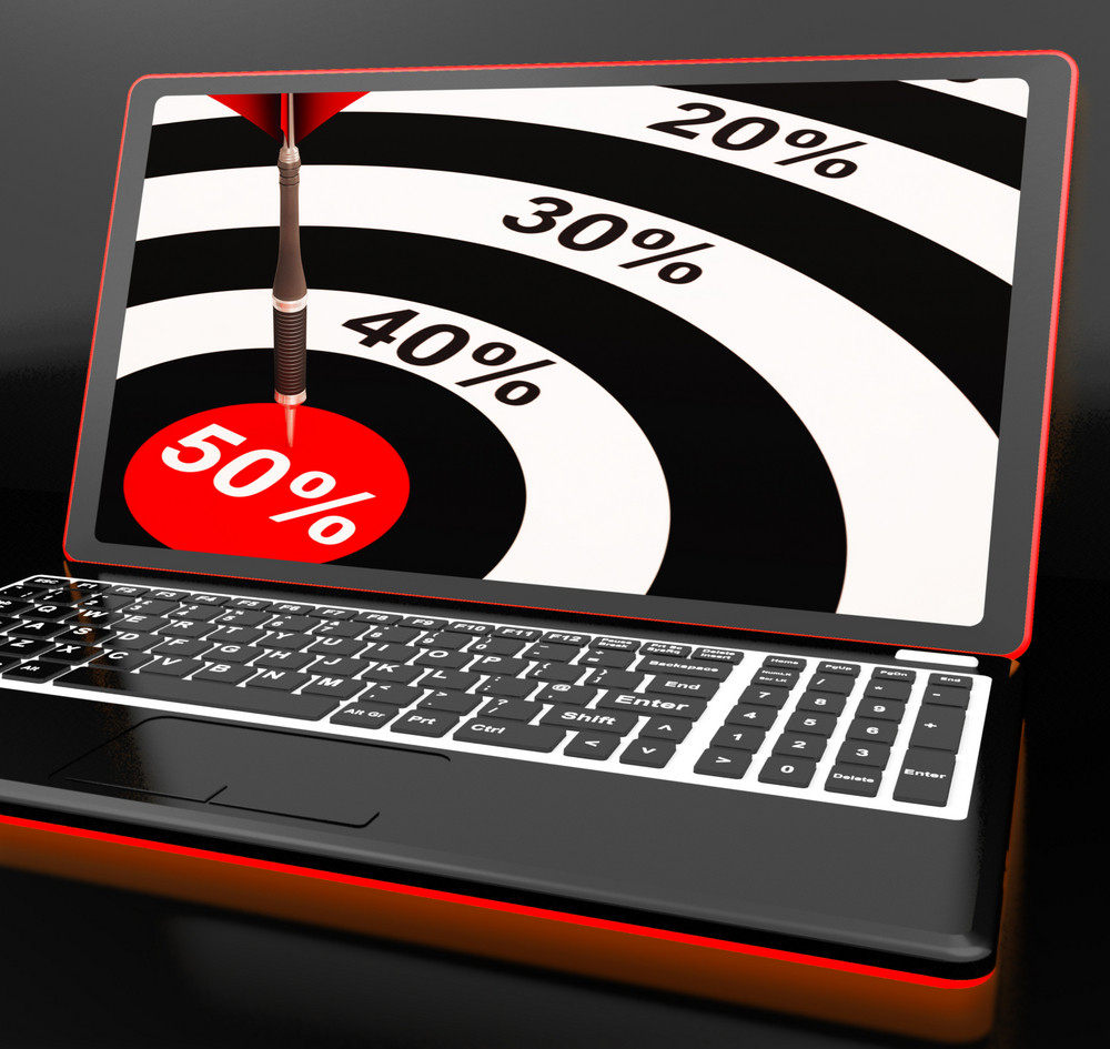 50percent On Laptop Showing Big Promotions
