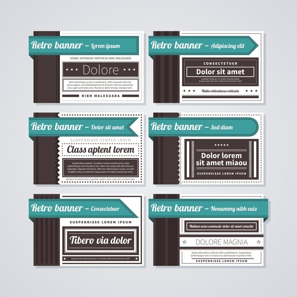 6 Horizontal Retro Banners On White Background. Useful For Advertising Or Web Design.