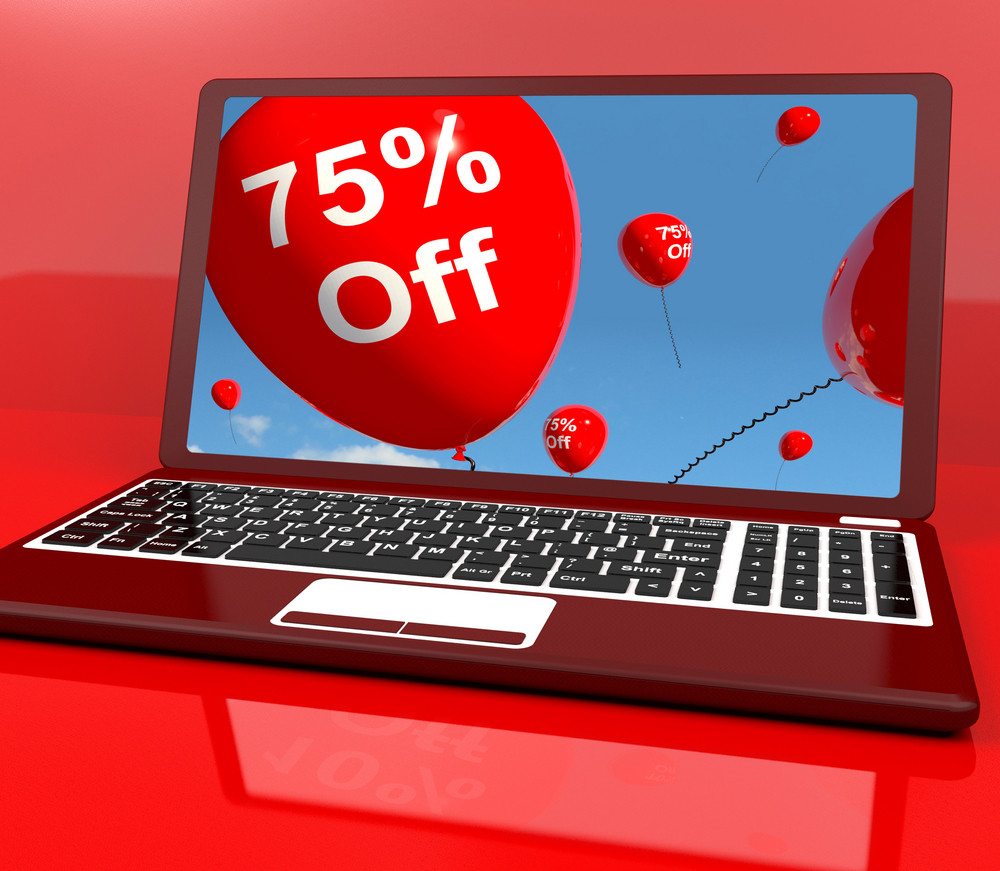 75% Off Balloons On Computer Showing Discount Of Seventy Five Percent